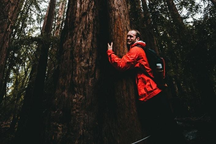 man wearing red sweater hugging a tree