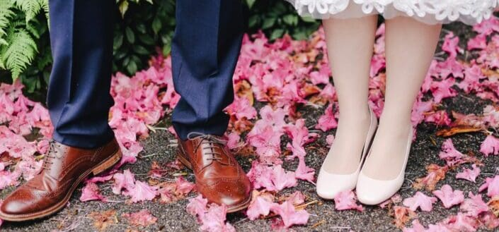 shoes of the bride and groom