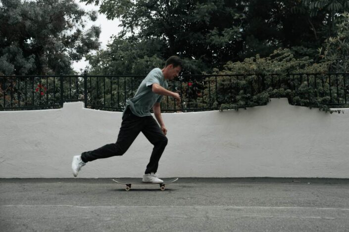 man on a skateboard in a pavement