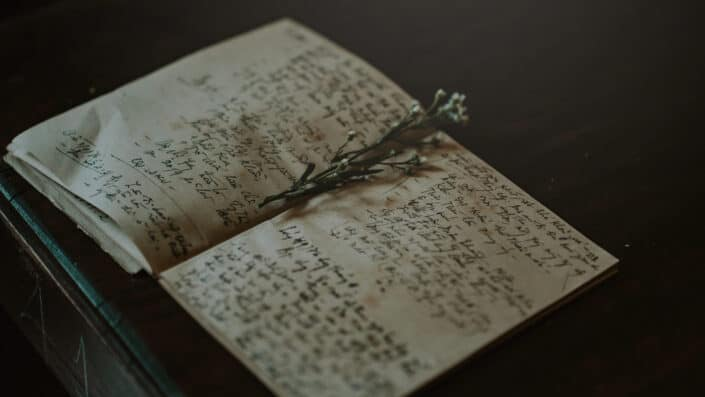 open notebook with scribbled notes