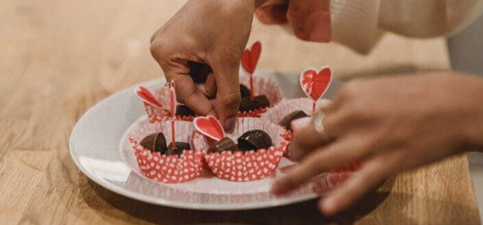 Hand plating chocolates