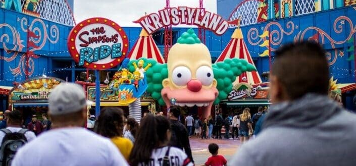 The Simpsons ride at Krustyland park