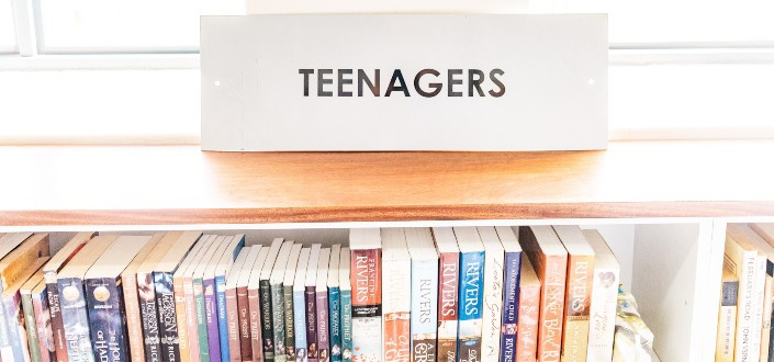 Bookshelf for teenagers section