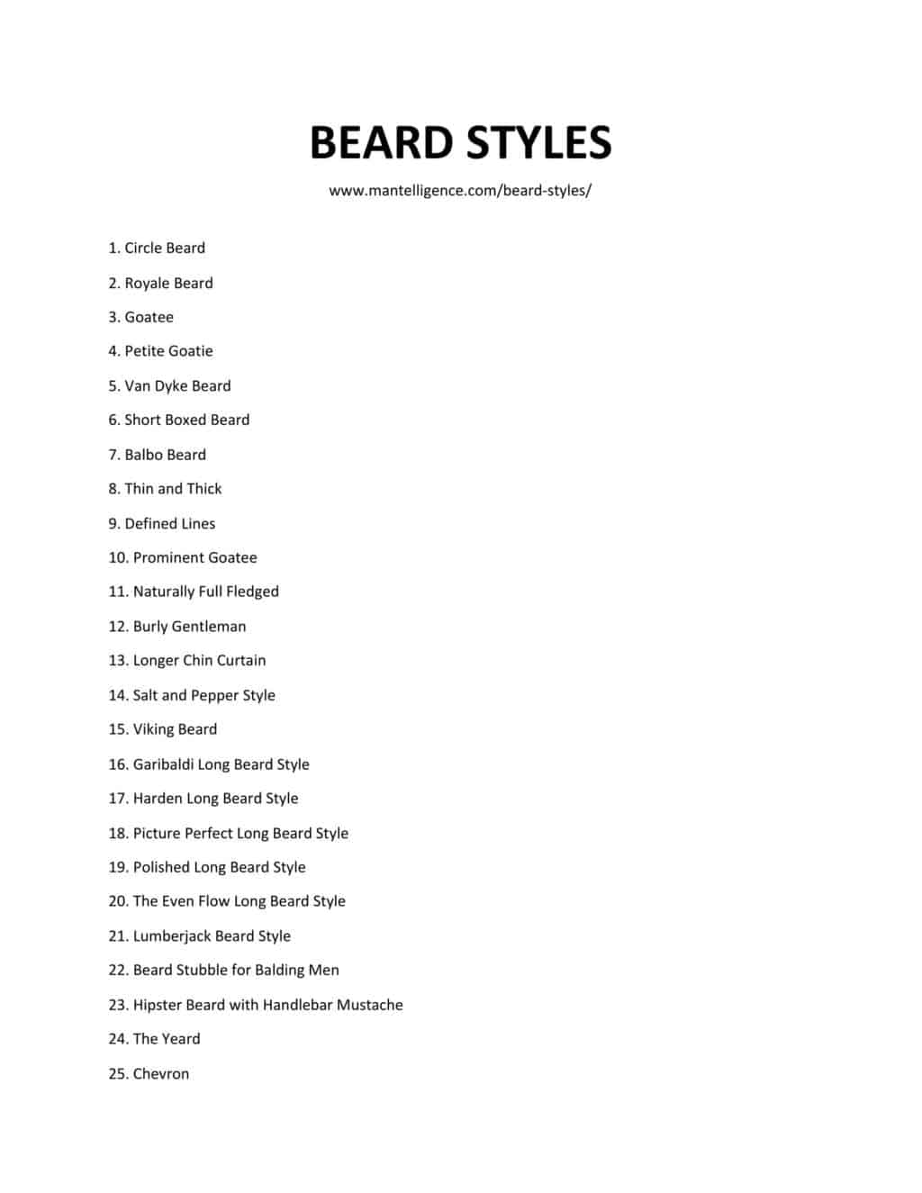 Downloadable and printable list of styles