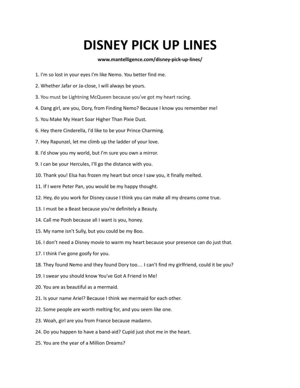 Downloadable and printable list of pick up lines as jpg or pdf