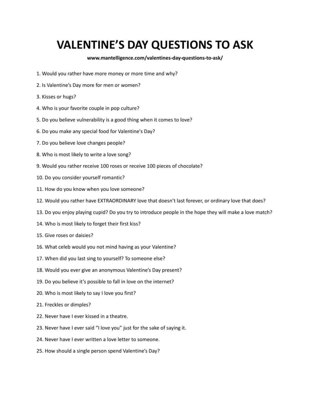 Downloadable list of questions for valentine's