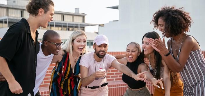 Group of friends having fun.