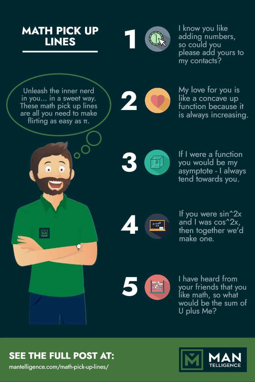 Infographic on pick up lines about math