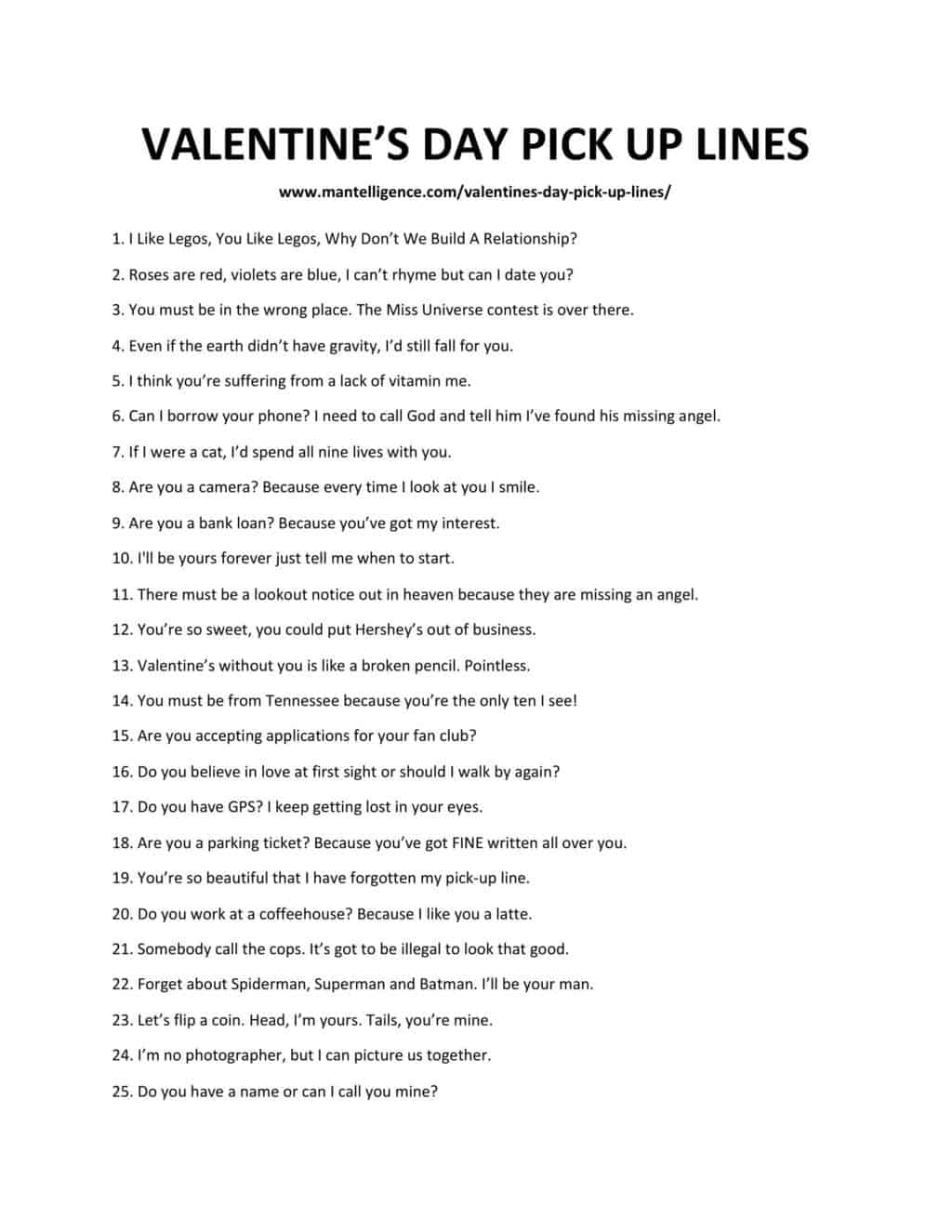 A downloadable list of pick up lines