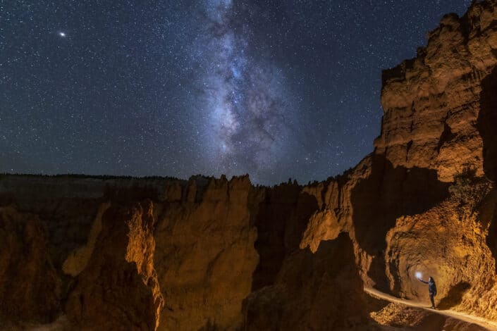 Milky Way galaxy photo against canyons