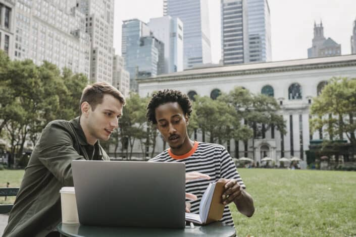 Two men studying