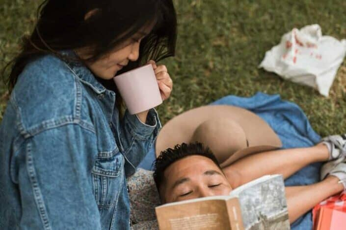 Couple having a romantic picnic together.
