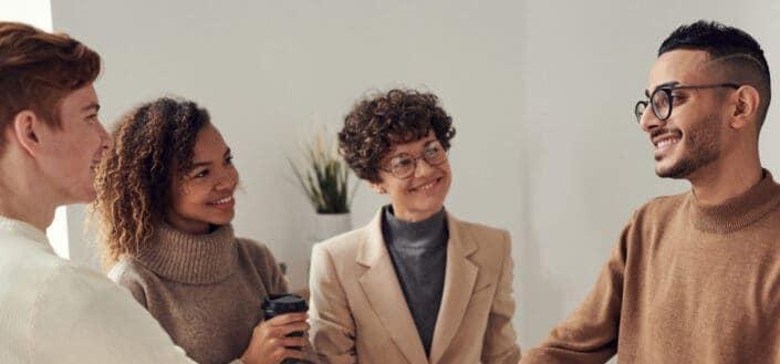 Men and women smiling