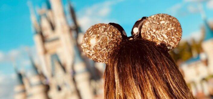 A mickey headband on a girl