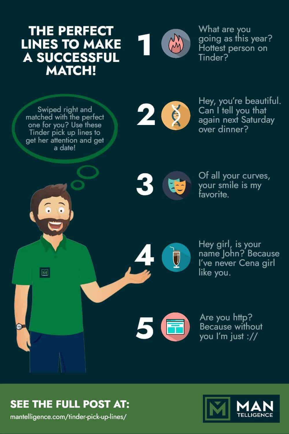 Tinder Pick Up Lines - infographic