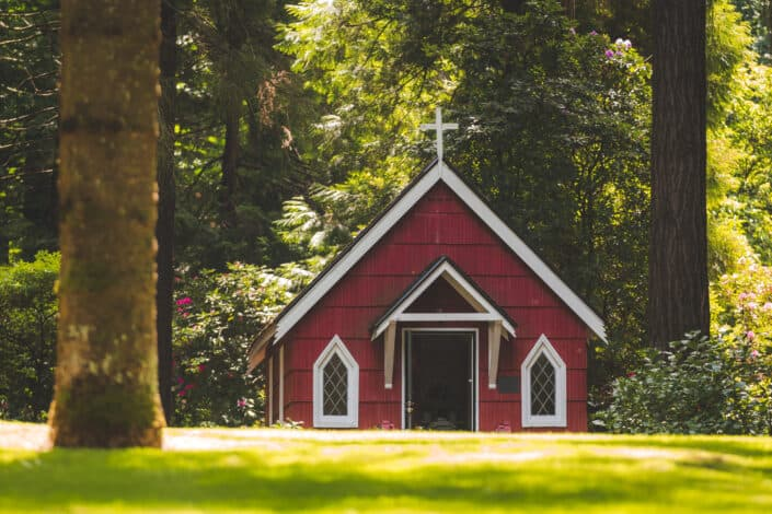 a small red chapel