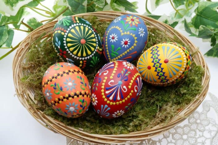 colorful painted Easter eggs on a nest