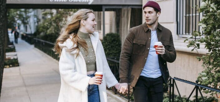 young couple having their morning coffee