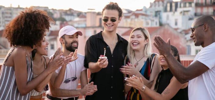 friends having a birthday party celebration