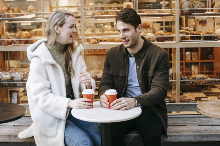 couple having a date in a cafe