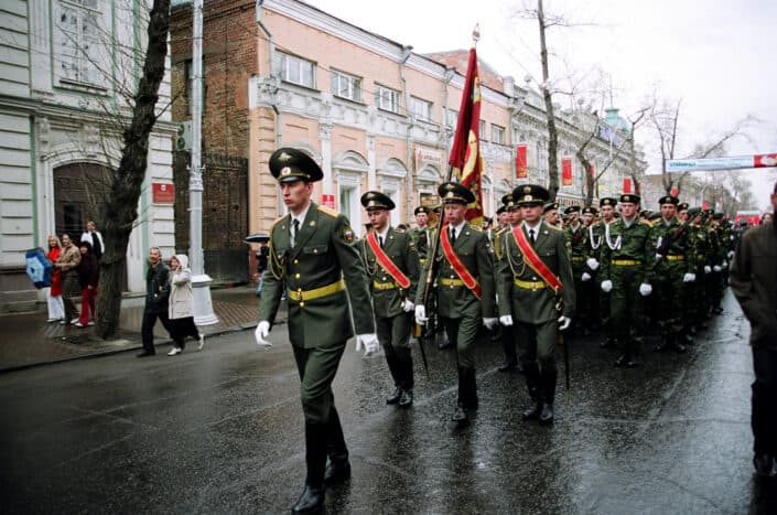 Military personnel marching for a parade