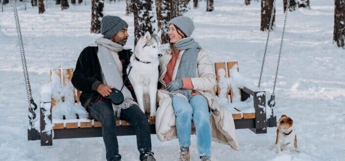 People sitting on brown wooden bench surrounded by snow covered trees