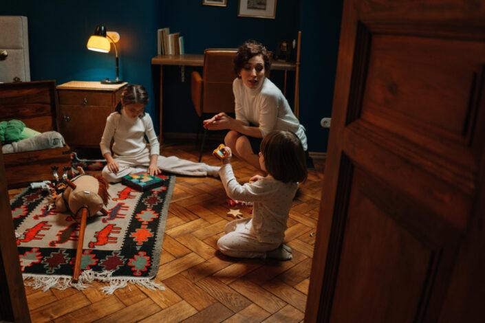 Woman girl bedroom playing