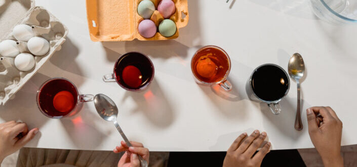 Easter eggs painting session