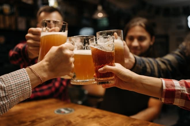 Types of Beer Glasses - drinking beer in a club