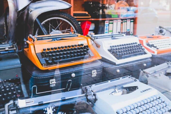 a display of type writers