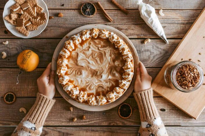 person presenting her delicious pie