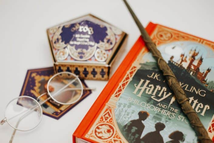 Harry Potter book and wand