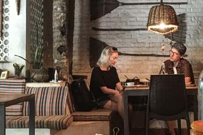 Couple dating in a restaurant
