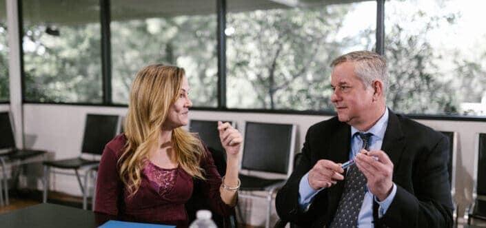 Man and woman having a deep conversation
