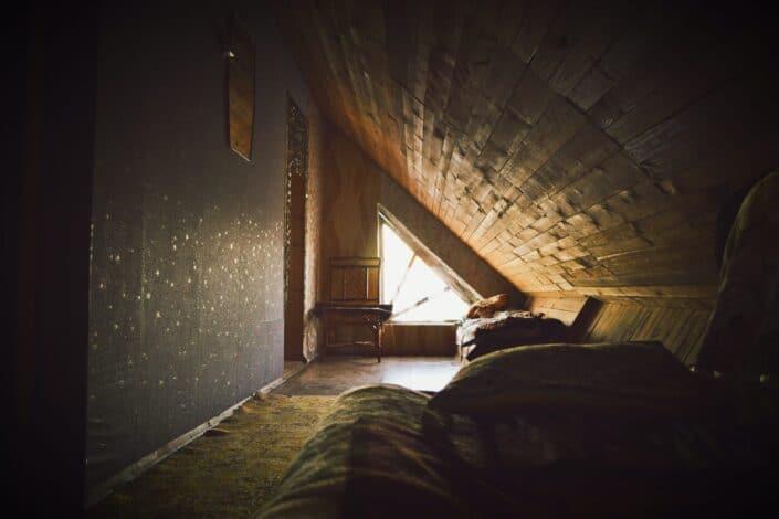 An attic room.