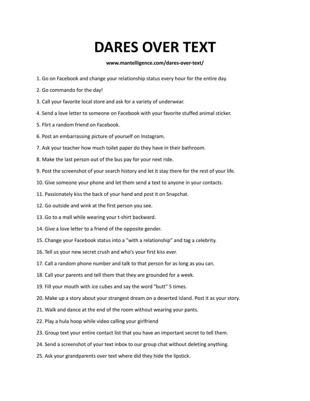 Downloadable list of dares