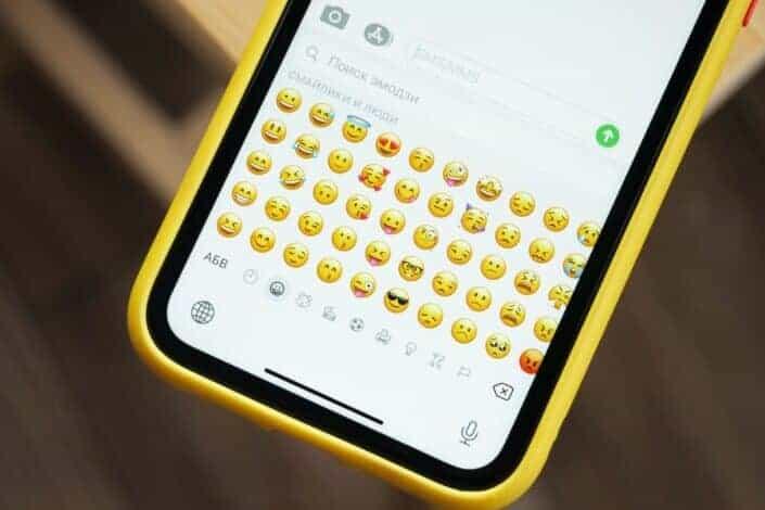 phone showing different emojis