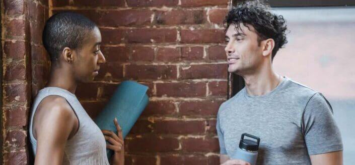 diverse couple having conversation