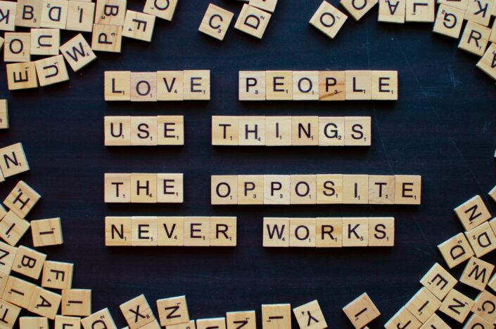 scrabble tiles forming words