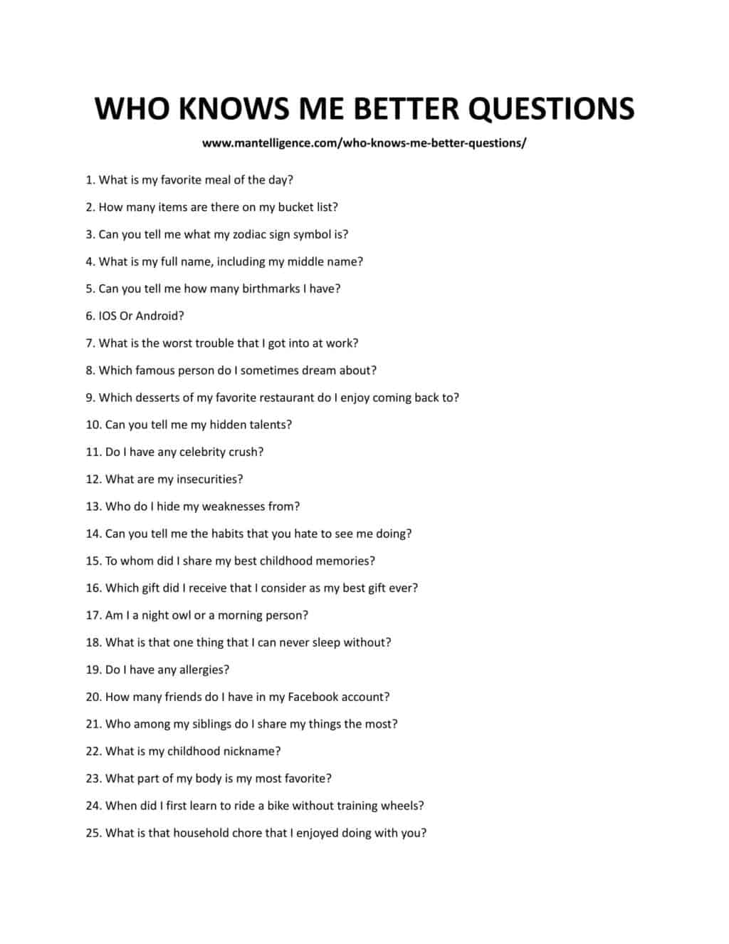 Downloadable and Printable list of Who Knows Me Better Questions