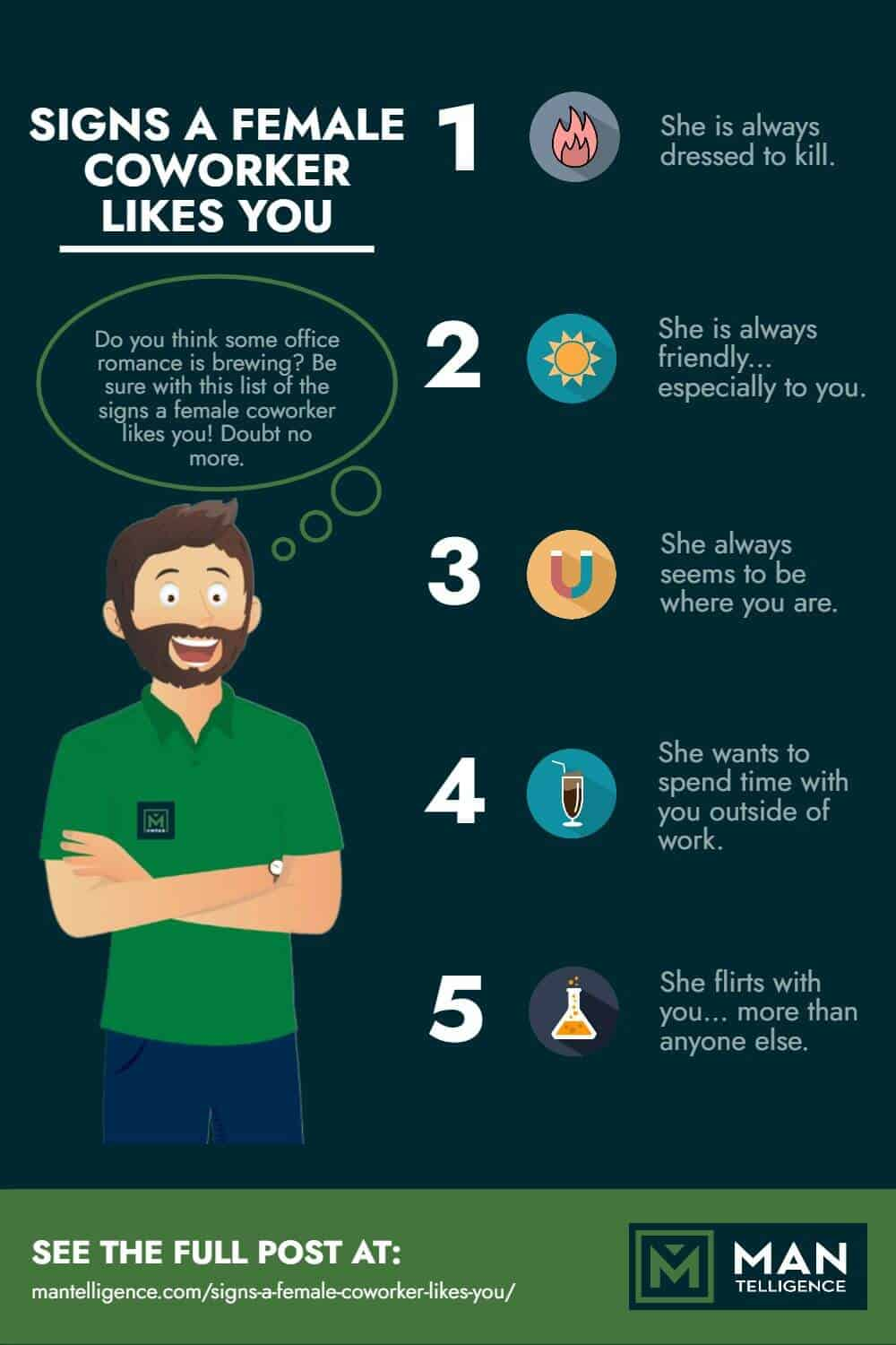 signs a female coworker likes you - infographic