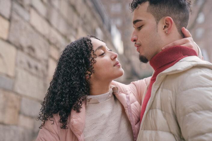 A girl teasing a guy.