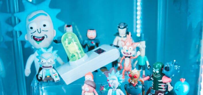 Cartoon figurines being displayed
