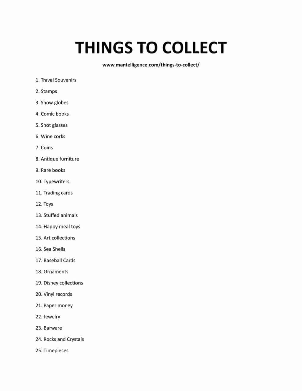 Downloadable and printable list of things