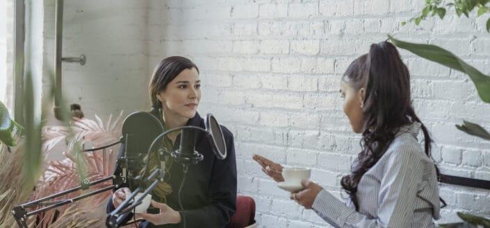 Friends talking on coffee break
