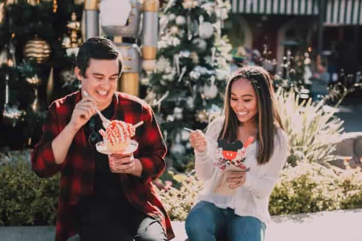 couple eating ice cream happily
