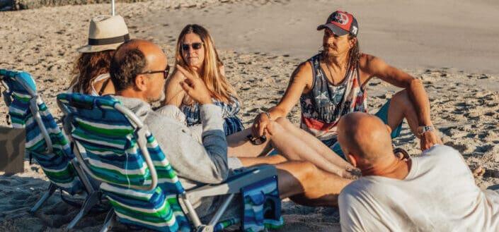 People talking on beach side