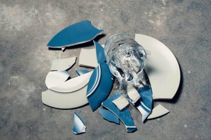Broken Plates on the floor