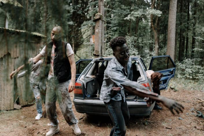 A group of zombies in a forest