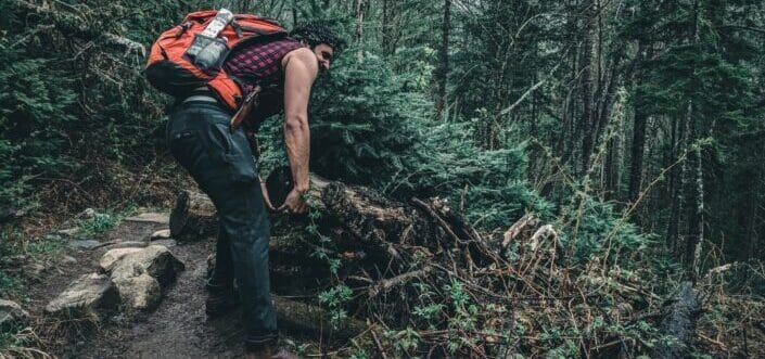 A hiker trying to carry a fallen tree